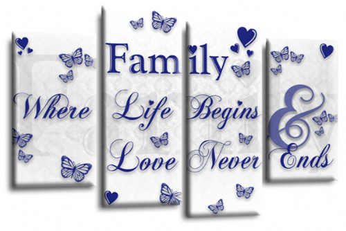 Family Quote Canvas Wall Art Picture Print White Blue Grey